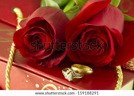 38be7a667 Red Roses Wedding Rings On Gift Stock Photo (Edit Now) 159188291 ...