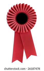 Red Rosette, isolated on white.