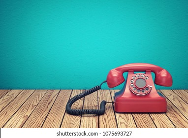 Red rotary telephone on wood table against greenish blue wall background. 3D rendering
