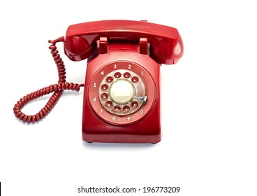 Red Rotray Phone Isolated On White
