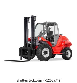 Red Rough Terrain Forklift Truck Isolated on White Background. Side View of Forklift Truck. Industrial Vehicle. Internal Combustion Pneumatic Truck. Diesel Counterbalance Truck. Warehouse Equipment