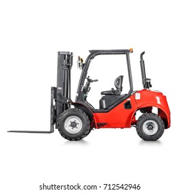 Red Rough Terrain Forklift Truck Isolated on White Background. Side View of Vertical Masted Forklift Truck. Industrial Vehicle. Pneumatic Truck. Diesel Counterbalance Truck. Warehouse Equipment