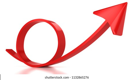 Red round arrow on white background,3D rendering
