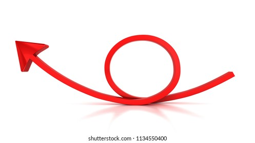 Red round arrow on white background