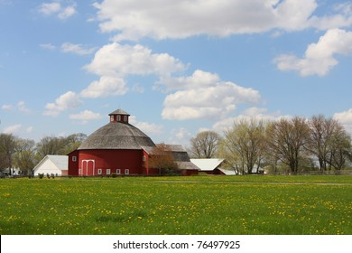 A Red Round Barn in the Indiana Country