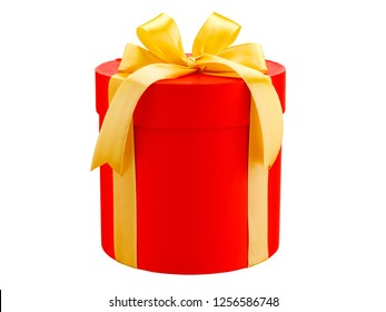 red round gift box with a yellow bow isolated on white