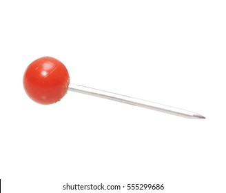 Red round map peg pin on clean white background
