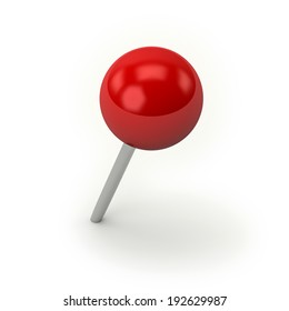 Red round pin on white background