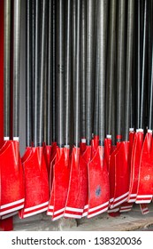 red rowing blades
