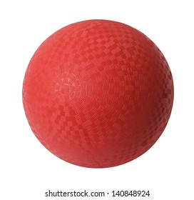 Red Rubber Ball Isolated on White Background.
