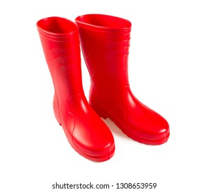 red rubber boots isolated on white