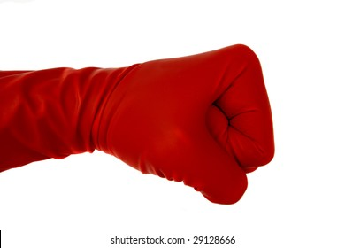 Red rubber glove showing signs