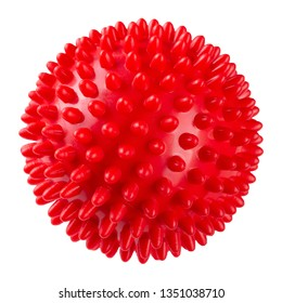 red rubber massage ball with spikes, on a white background, isolate