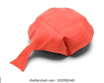 Red Rubber Whoopie Cushion Isolated on a White Background.