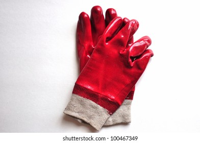 Red Rubber Work Gloves