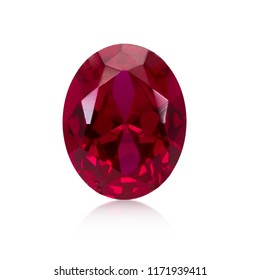 Red Ruby Gem Stone oval cut on white background isolate