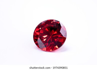 Red Ruby gemstone Round Cut isolate on white background, close up shot