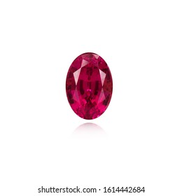 Red Ruby natural Gem Stone oval cut on white background isolate