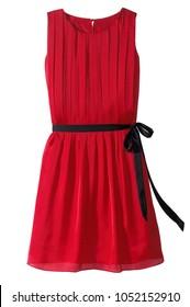 red ruffled mini sleeveless dress with belt