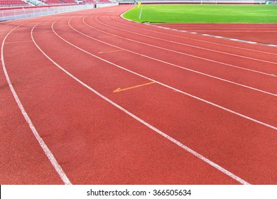 Red running track made of rubber.