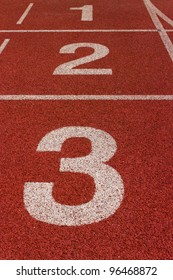 red running track with number