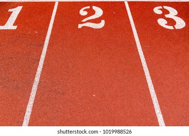 Red Running track outdoor, sport or healthy concept background.
