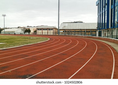Red Running Track in Sport Stadium