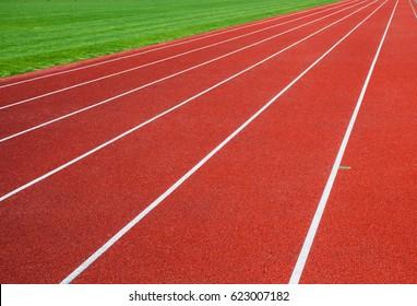 Red running track in stadium. running track line.