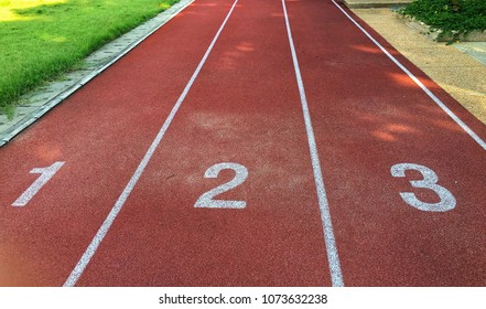 red running way with number 1, 2 and 3