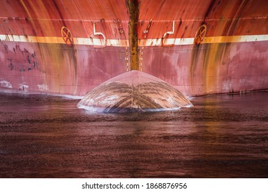 Red rusty ship bow in detail