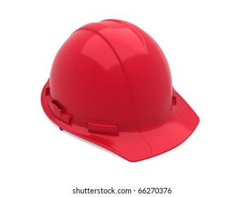 red safety helmet (clipping path)