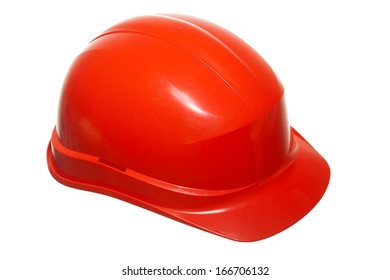 Red safety helmet hardhat of builder building worker isolated on white. Security and work. Studio.