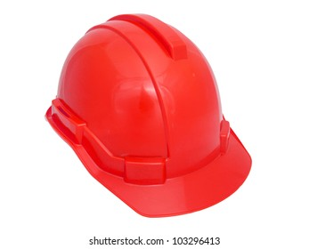 Red Safety helmet isolated on white