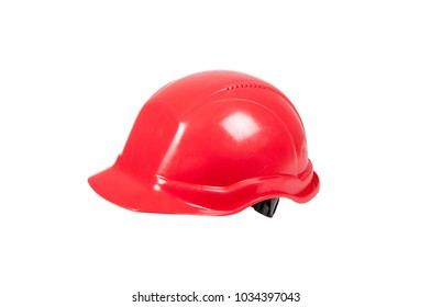 Red safety helmet isolated on white background