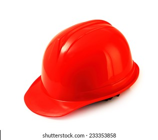Red safety helmet on white background, hard hat isolated clipping path.
