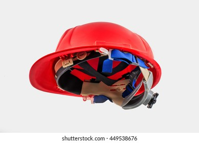 Red safety helmet on white background. hard hat isolated on white