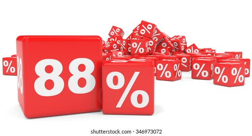 Red sale cubes. Eighty eight percent discount. 3D illustration.