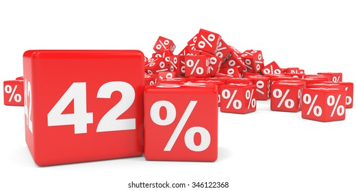 Red sale cubes. Forty two percent discount. 3D illustration.