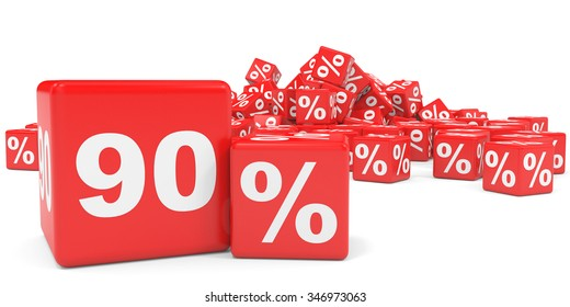 Red sale cubes. Ninety percent discount. 3D illustration.