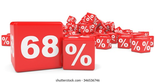 Red sale cubes. Sixty eight percent discount. 3D illustration.