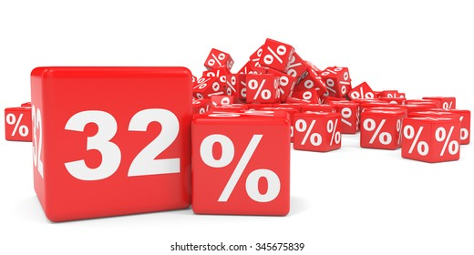 Red sale cubes. Thirty two percent discount. 3D illustration.