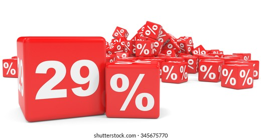 Red sale cubes. Twenty nine percent discount. 3D illustration.