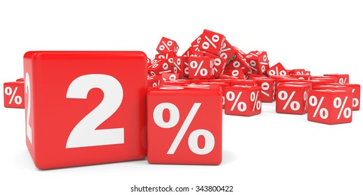 Red sale cubes. Two percent discount. 3D illustration.