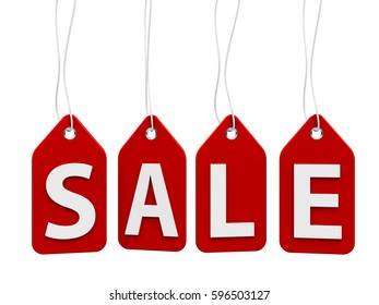 Red sale labels - price tags - isolated on white background, three-dimensional rendering, 3D illustration