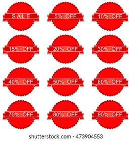 Red Sale Sticker and Tags Set with sale 10 - 90 percent text