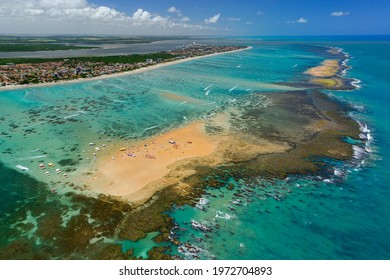Red sand island that appears at low tide, is one of the major tourist attractions of the state. Cabedelo, near João Pessoa, Paraíba, Brazil on November 15, 2012. Aerial view.