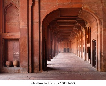 Red sandstone archways in Mosque, Fatehpur Sikri, India