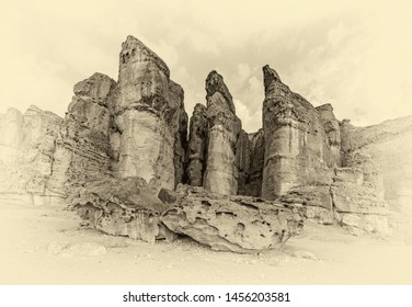 The red sandstone cliffs in Timna Valley called King Solomon's Pillars - Israel (stylized retro)