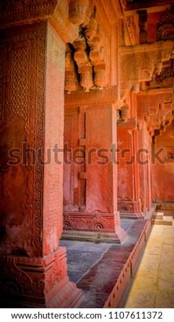 Red Sandstone Columns Arches Decoration Islamic Stock Photo Edit