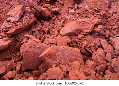 Red sandstone in construction site. Geology. Geotechnical. Soil Engineering.
